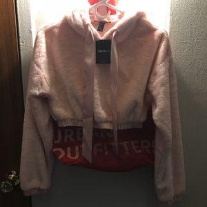 Pink Faux Fur Cropped Hoodie
